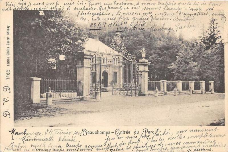 Carte postale ancienne Beauchamps Entree Du Parc (dos non divisé) à Beauchamps