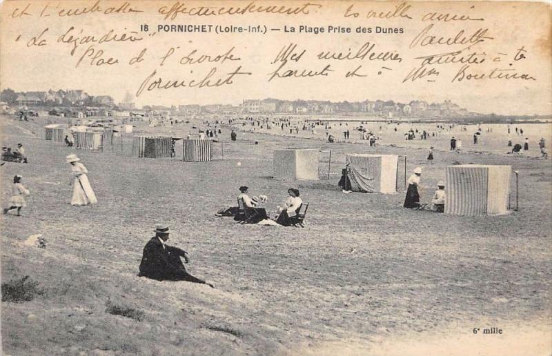 Carte postale ancienne Pornichet La Plage Prise Des Dunes à Pornichet