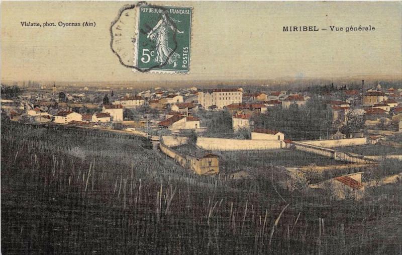 Carte postale ancienne Miribel Vue Generale (cpa émaillée toilée à Miribel