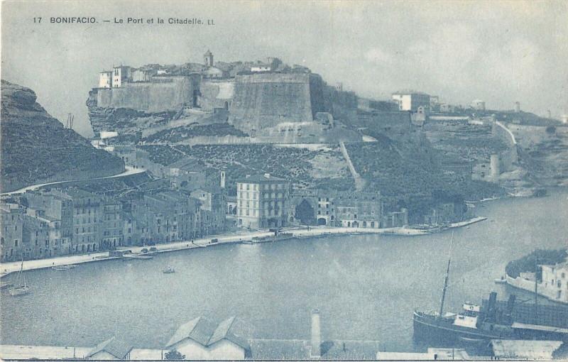 Carte postale ancienne 20 Corse Bonifacio Le Port Et La Citadelle à Bonifacio