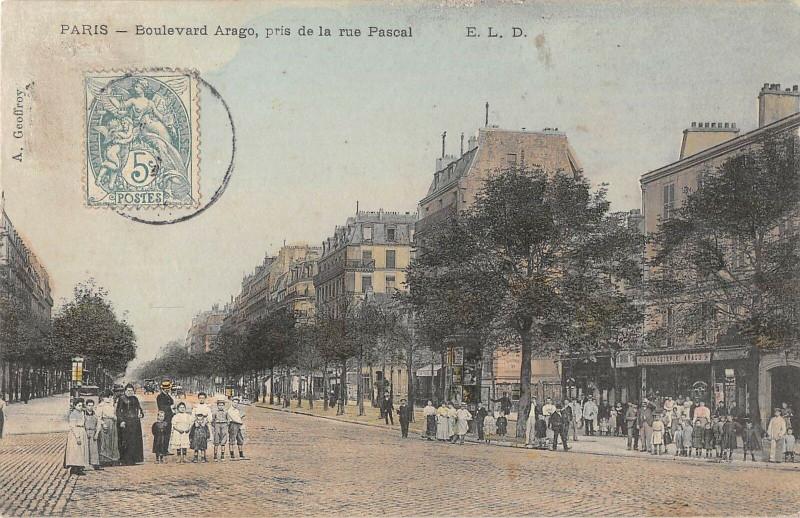 Carte postale ancienne Paris 13e Boulevard Arago Pris De La Rue Pascal à Paris 13e