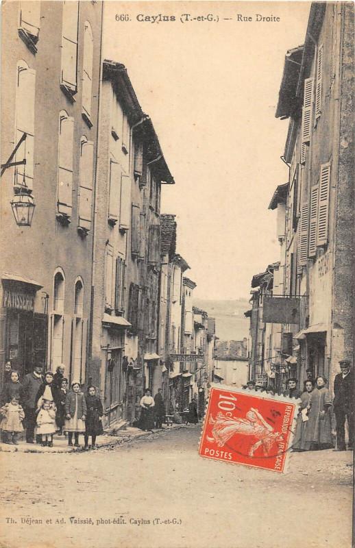 Carte postale ancienne Caylus Rue Droite à Caylus