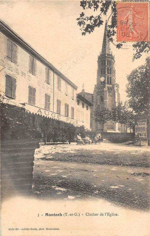 Carte postale ancienne Montech Clocher De L'Eglise à Montech