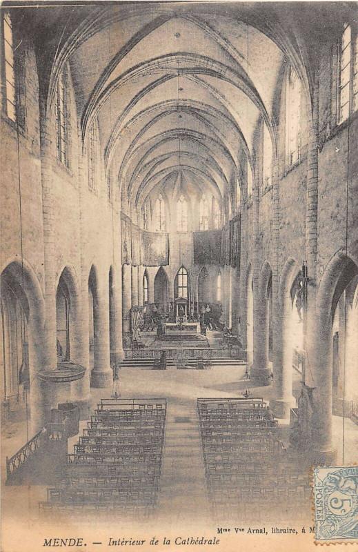 Carte postale ancienne Mende Interieur De La Cathedrale à Mende