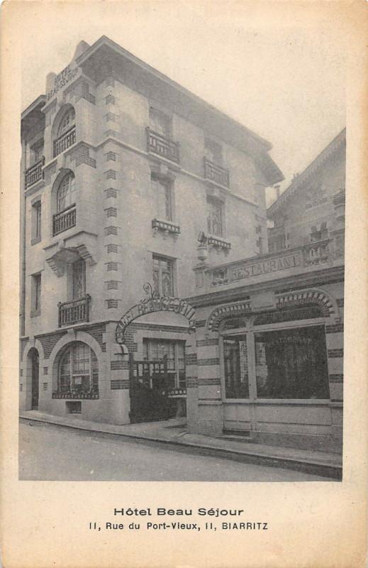 Carte postale ancienne Biarritz Hotel Beau Sejour Rue Du Vieux Port (rare cliché à Biarritz