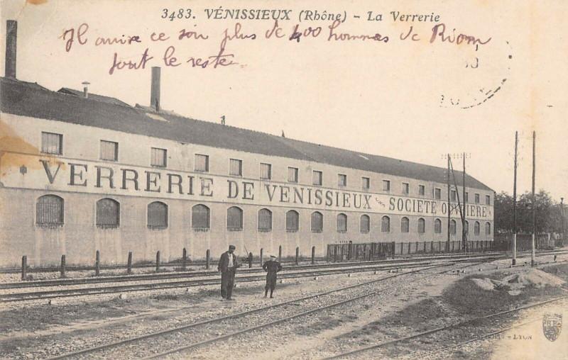 Carte postale ancienne Verrerie De Venissieux à Vénissieux