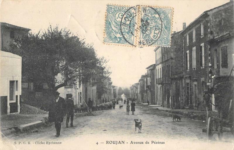 Carte postale ancienne Roujan Avenue De Pezenas à Roujan