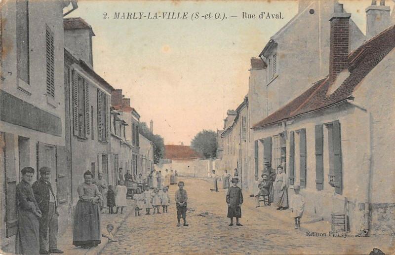 Carte postale ancienne Marly La Ville Rue D'Aval à Marly-la-Ville
