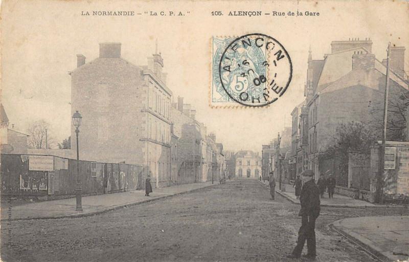 Carte postale ancienne Alencon Rue De La Gare (cliché pas courant à Alençon