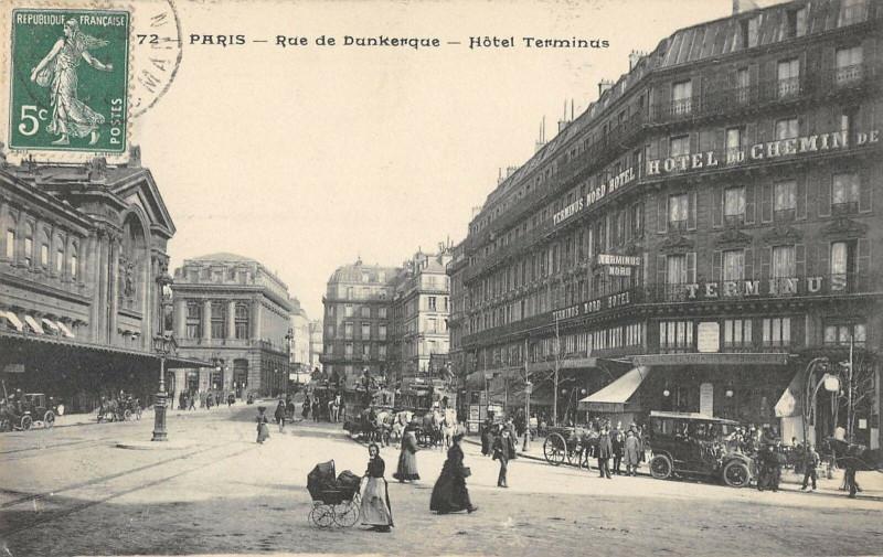 Carte postale ancienne Paris Xe Rue De Dunkerque Hotel Terminus à Paris 10e