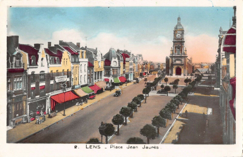 Carte postale ancienne Lens Place Jean Jaures à Lens