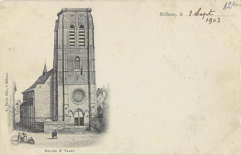 Carte postale ancienne Bethune Eglise St Vaast (dos non divisé) à Béthune
