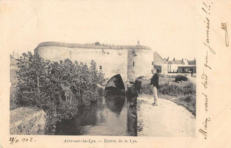 Carte postale ancienne Aire Sur La Lys Entree De La Lys  (dos non divisé) à Aire-sur-la-Lys