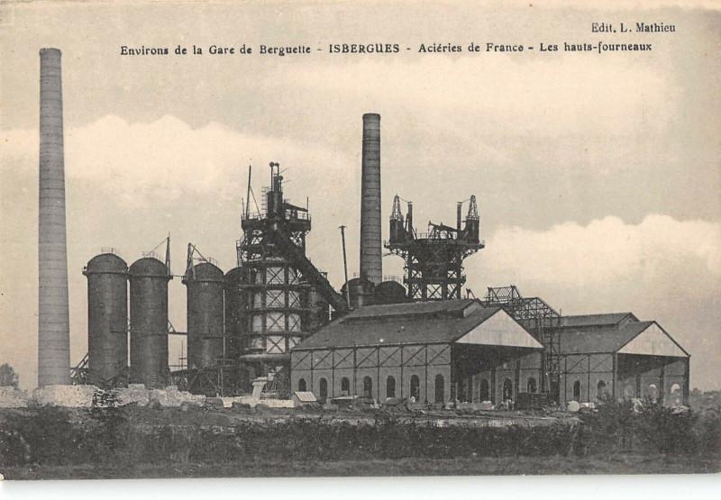 Carte postale ancienne Env.gare Berguette Isbergues Acieries De France Hauts Fourneaux à Isbergues