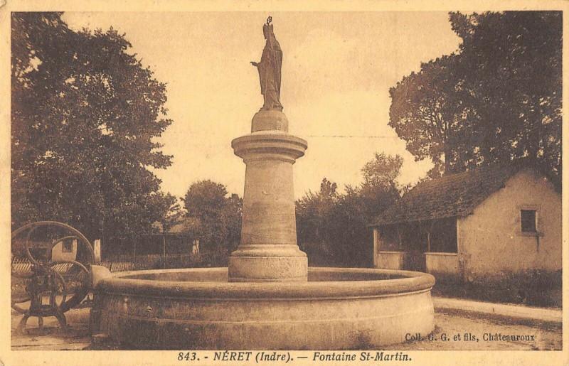 Carte postale ancienne Neret Fontaine Saint Martin à Néret