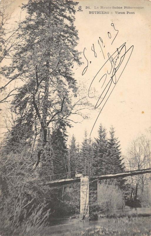 Carte postale ancienne Buthiers Vieux Pont (dos non divisé) à Buthiers