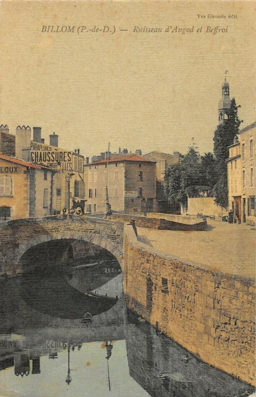 Carte postale ancienne Billom Ruisseau D'Angod Et Beffroi (cpa toilée pas courante à Billom