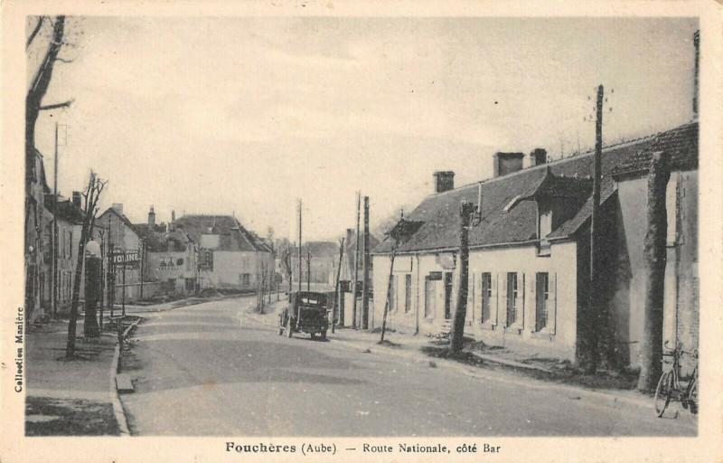 Carte postale ancienne Foucheres Route Nationale Cote Bar à Fouchères