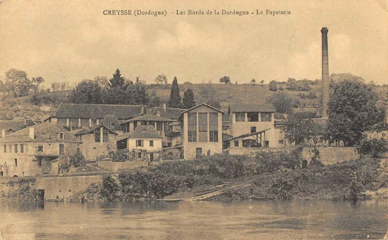 Carte postale ancienne Creysse Les Bords De La Dordogne La Papeterie à Creysse