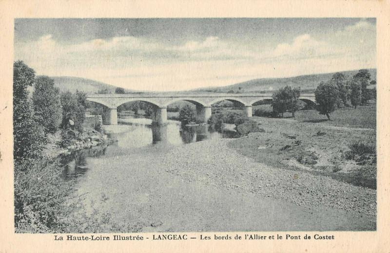 Carte postale ancienne Langeac Bords De L'Allier Pont De Costet à Langeac