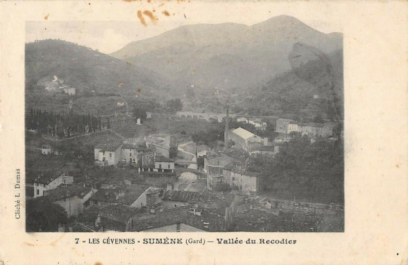 Carte postale ancienne Les Cevennes Sumene Vallee Du Recodier à Sumène