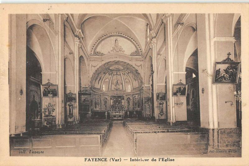 Carte postale ancienne Fayence Interieur De L'Eglise à Fayence