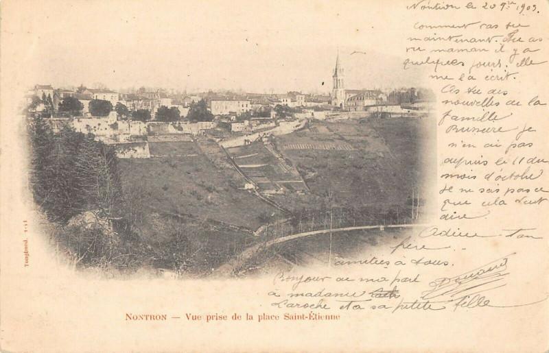 Carte postale ancienne Nontron Vue Prise De La Place Saint Etienne (dos non divisé) à Nontron