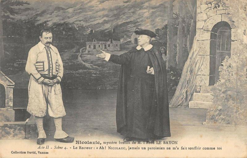 Carte postale ancienne Nicolazic Mystere Breton Abbe Le Bayon Acte Ii