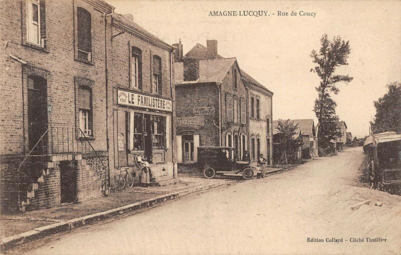 Carte postale ancienne Amagne Lucquy Rue De Coucy à Amagne