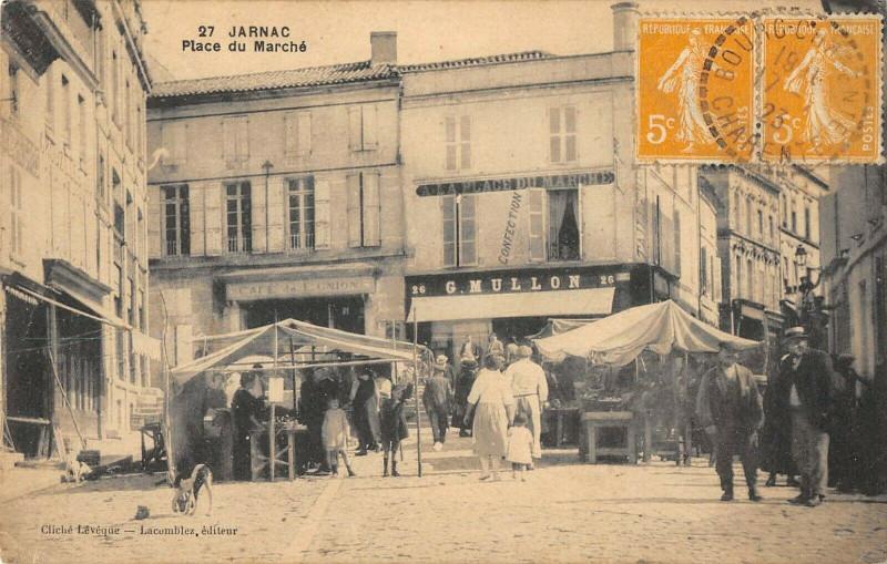Carte postale ancienne Jarnac Place Du Marche à Jarnac