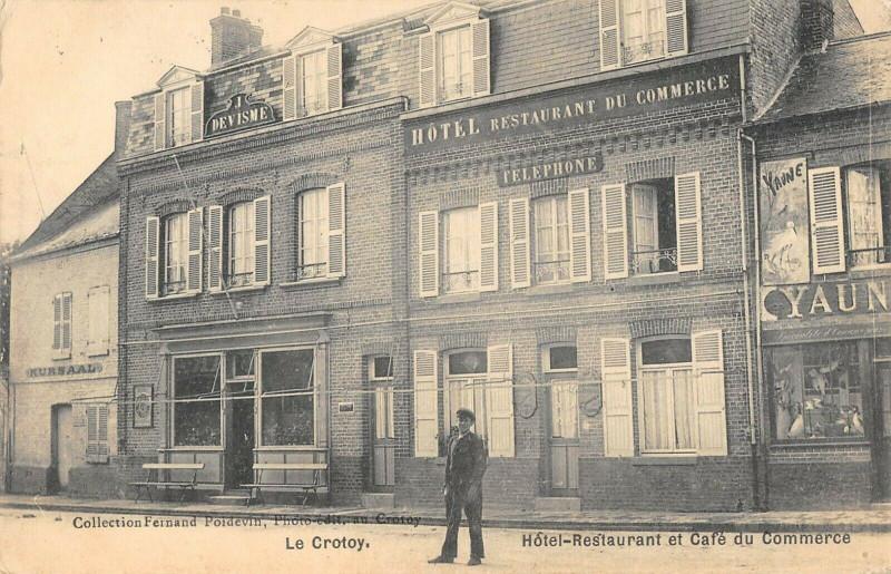 Carte postale ancienne Le Crotoy Hotel Restaurant Et Cafe Du Commerce (cpa pas courante à Le Crotoy