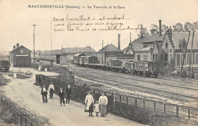 Carte postale ancienne Martainneville La Verrerie La Gare à Martainneville