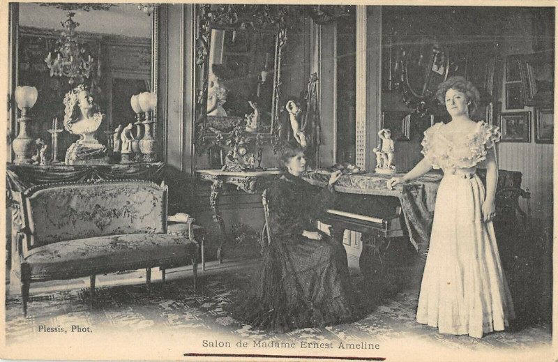 Carte postale ancienne Salon De Madame Ernest Ameline Poete Normand à Ernes