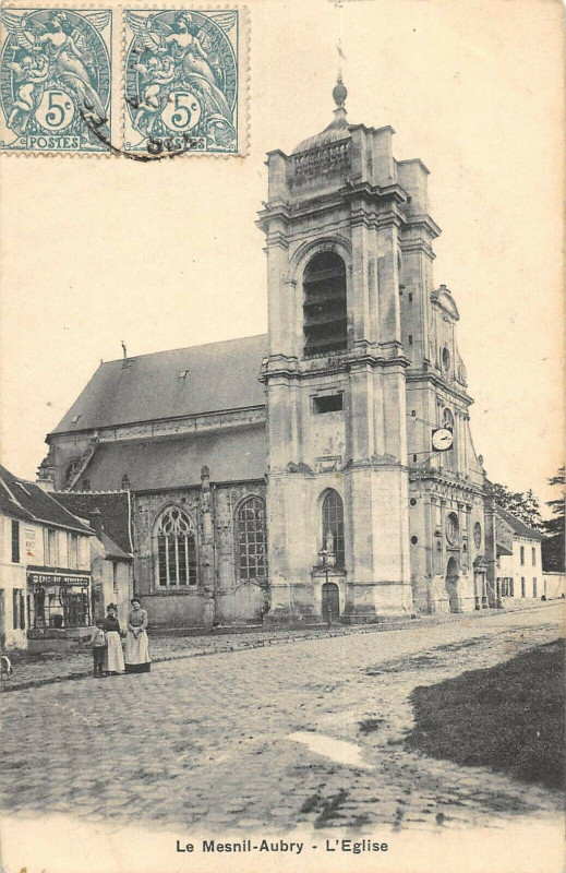 Carte postale ancienne Le Mesnil Aubry Eglise au Mesnil-Aubry