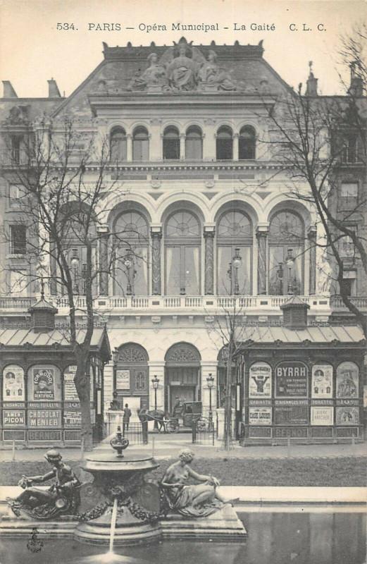 Carte postale ancienne Opéra Municipal - La Gaité à Paris 3e