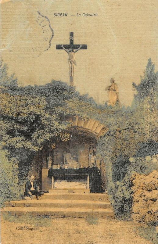 Carte postale ancienne Sigean Le Calvaire (cpa toilée à Sigean