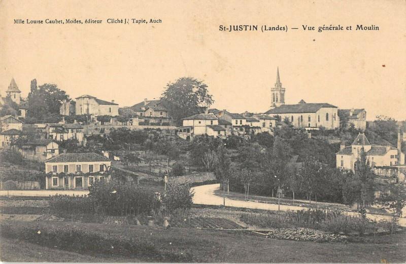 Carte postale ancienne Saint Justin Vue Generale Et Le Moulin à Saint-Justin