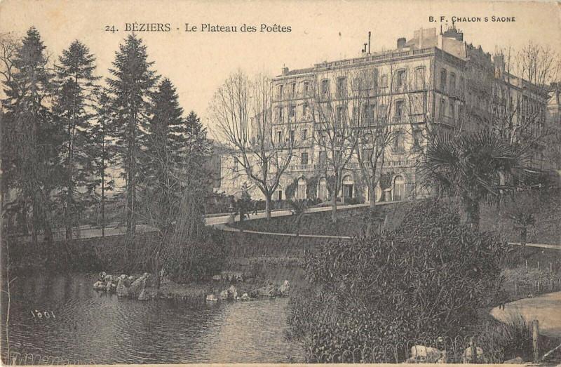 Carte postale ancienne Beziers Plateau Des Poetes à Béziers