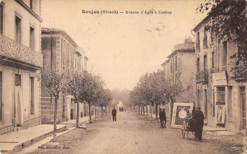 Carte postale ancienne Roujan Avenue D'Agde A Castres (cpa rémouleur Metier à Roujan