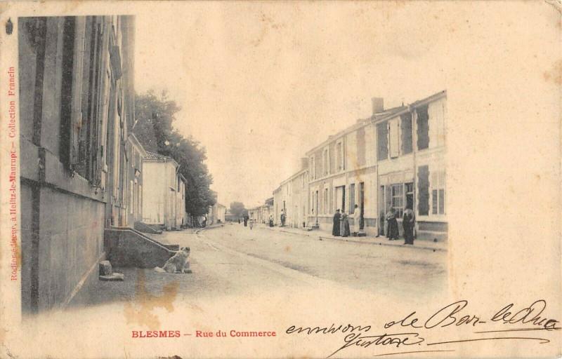 Carte postale ancienne Blesmes La Rue Du Commerce à Blesmes