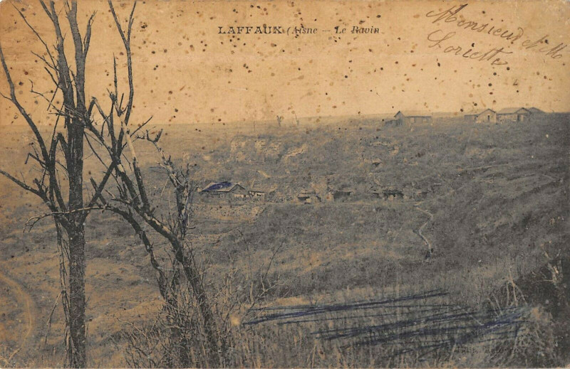 Carte postale ancienne Laffaux Le Ravin à Laffaux