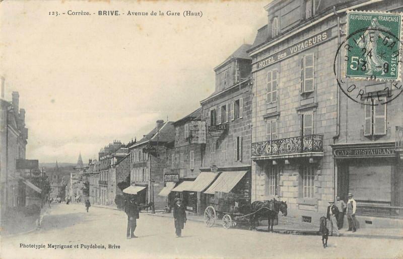 Carte postale ancienne Brive Avenue De La Gare Haut