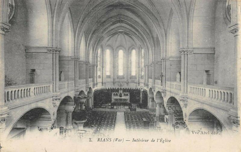 Carte postale ancienne Rians Interieur De L'Eglise à Rians