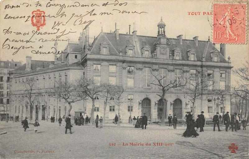 Carte postale ancienne La Mairie du XIIIe arrondissement à Paris 13e
