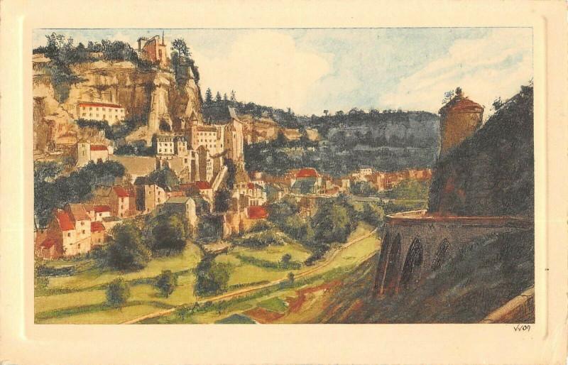 Carte postale ancienne Cpa Illustrateur Rocamadour Vue Generale Cote Ouest à Rocamadour