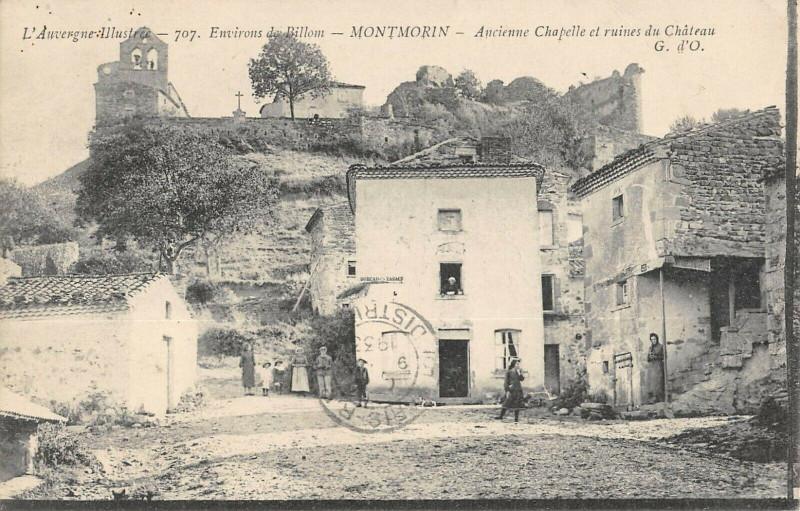 Carte postale ancienne Montmorin Ancienne Chapelle Et Ruines Du Chateau à Montmorin