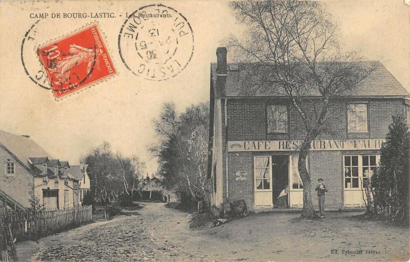 Carte postale ancienne Camp De Bourg Lastic Les Restaurants à Lastic