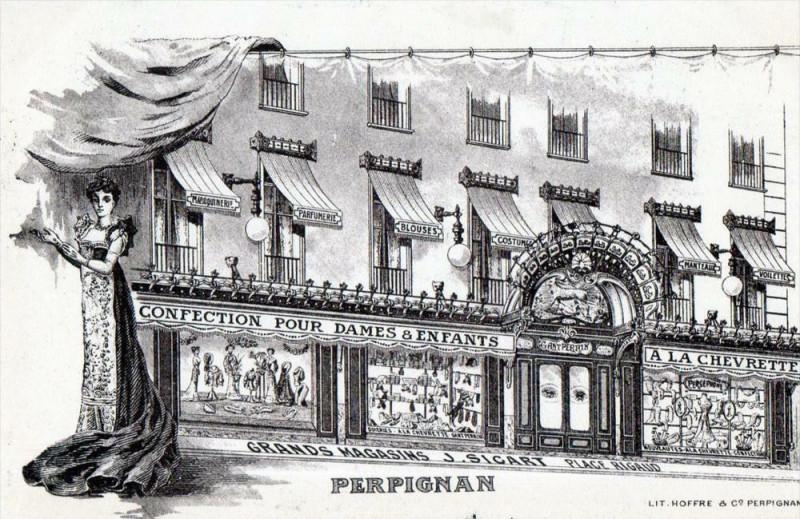 Carte postale ancienne Perpignan Grands Magasins J.sicart Place Rigaud (Rare Car Cpa Illustrateu à Perpignan
