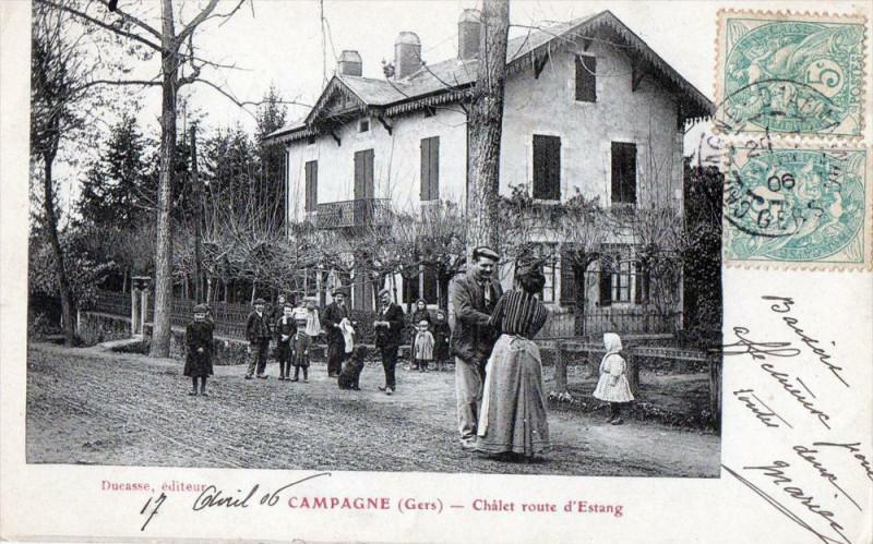 Carte postale ancienne Campagne Gers Chalet Route D´ESTANG (Superbe Cpa à Estang