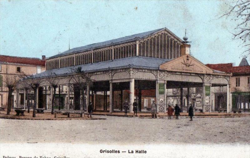 Carte postale ancienne Grisolles La Halle (cpa animée) à Grisolles